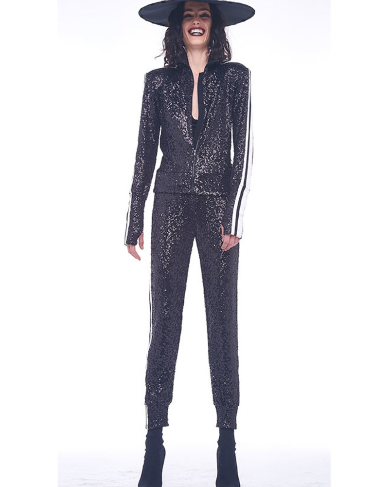 Norma Kamali Sequin Side Stripe Turtle Jacket