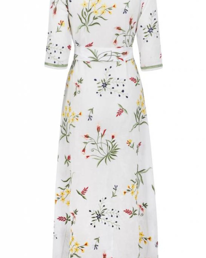 We Are Leone Provence Floral Embroidered Maxi w/Belt