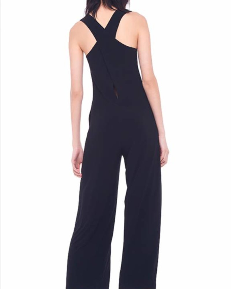 Norma Kamali Cross Back Cropped Jumpsuit