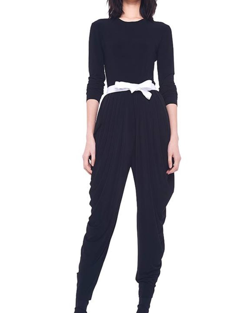 Norma Kamali Long Sleeve Waterfall Jumpsuit