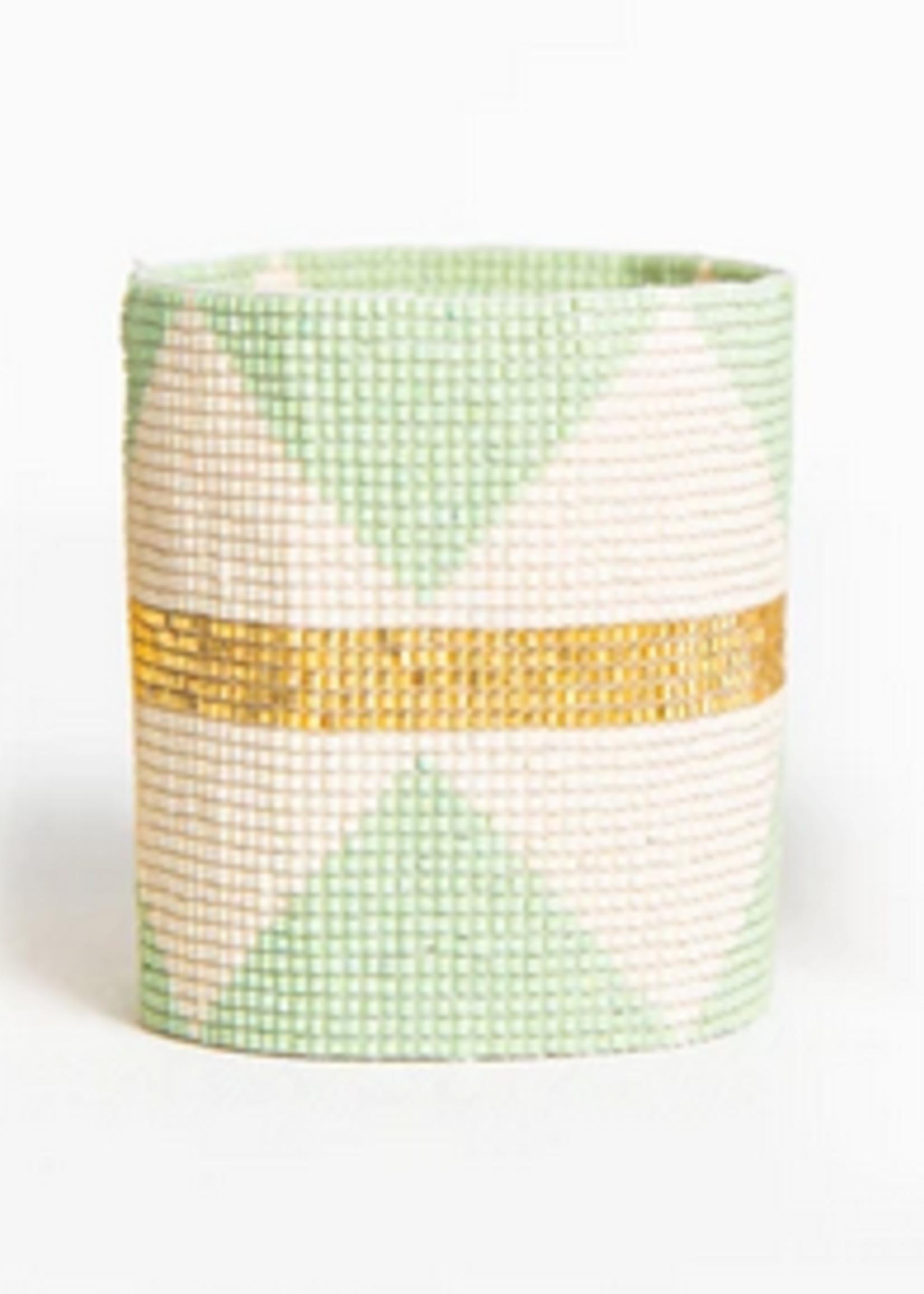 hula sue mint & gold stripe cuff