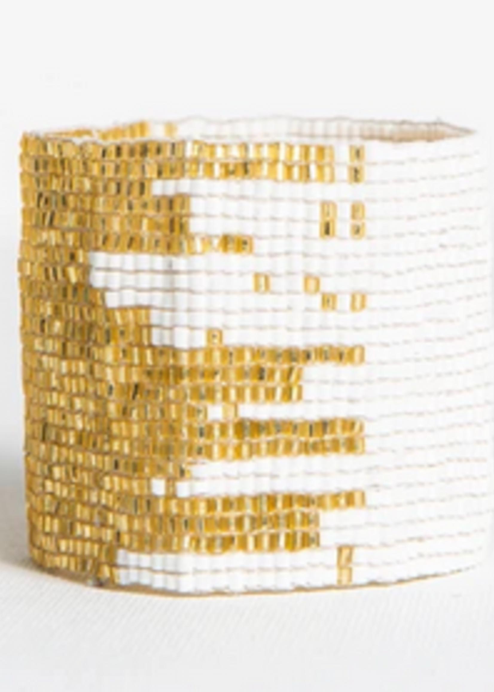 hula sue white & gold lux cuff