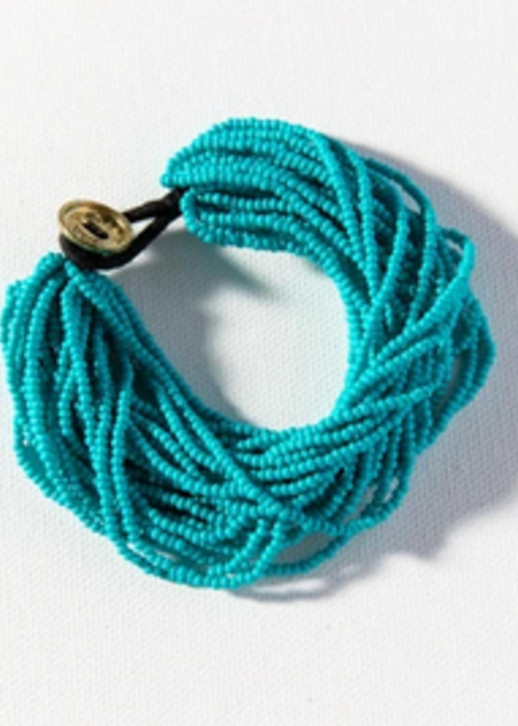 hula sue layered seed bead bracelet - turq