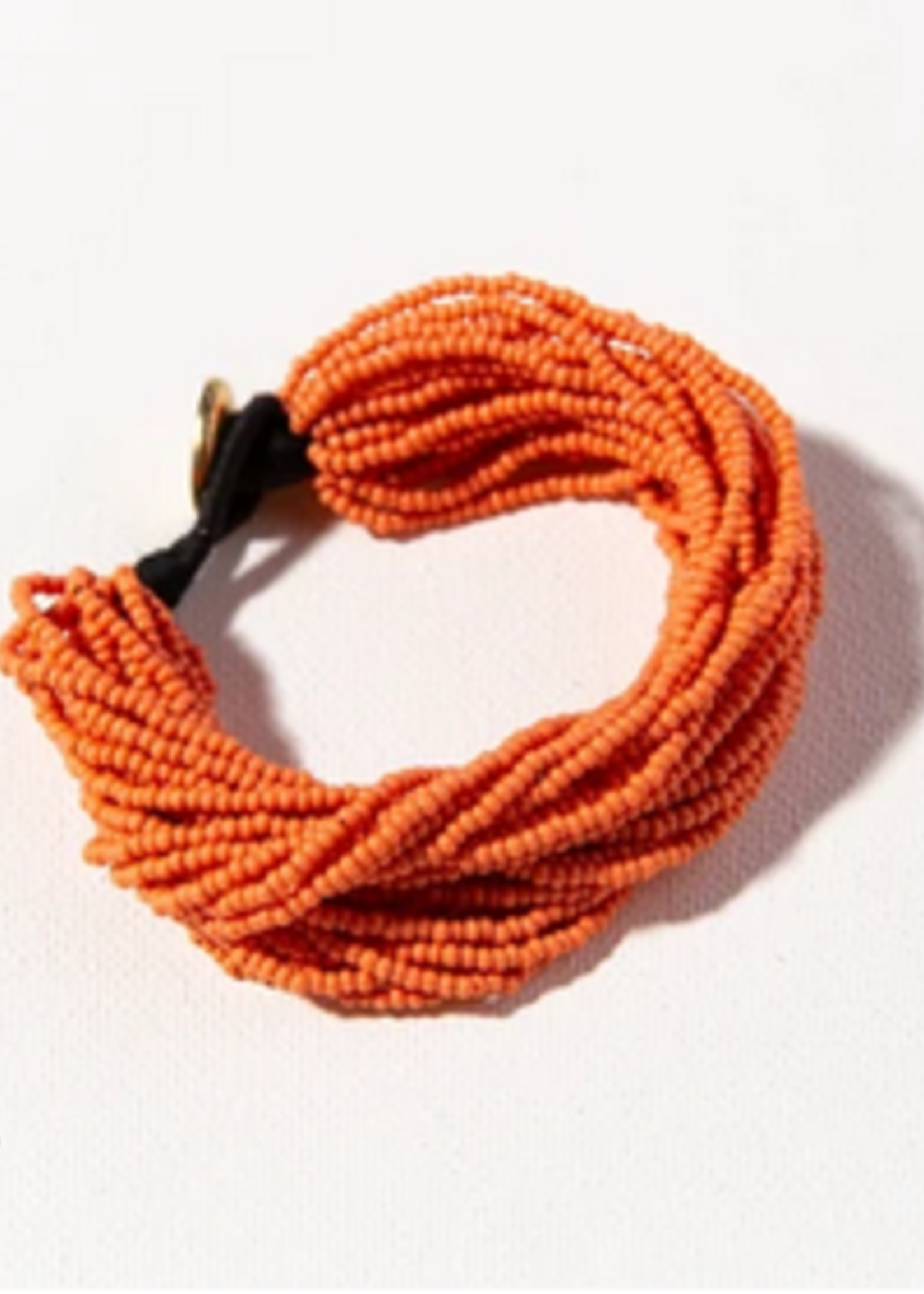 hula sue layered seed bead bracelet - coral