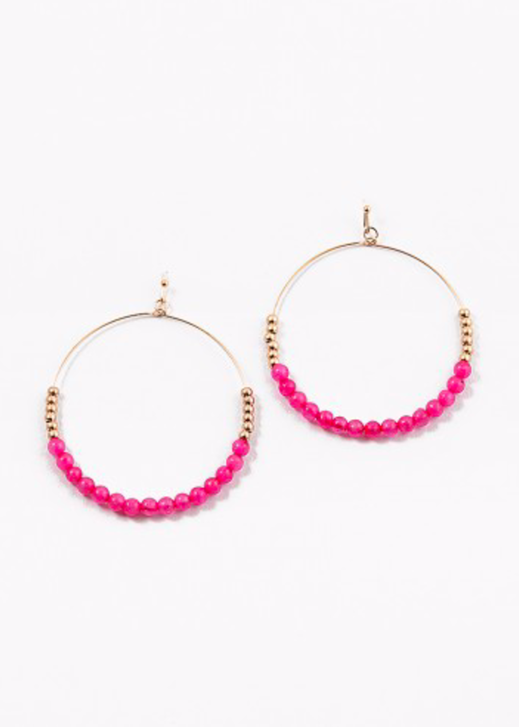 hula sue lucy beaded hoops - pink