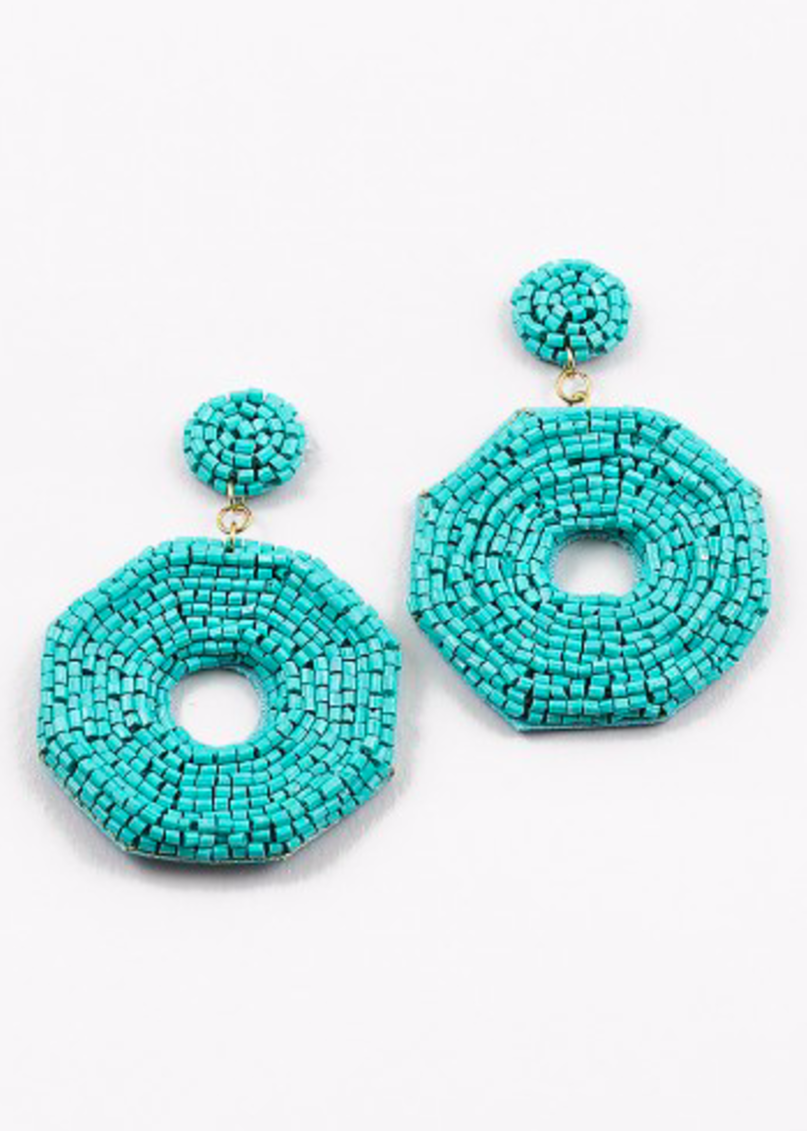 hula sue amaya beaded earring - turquoise
