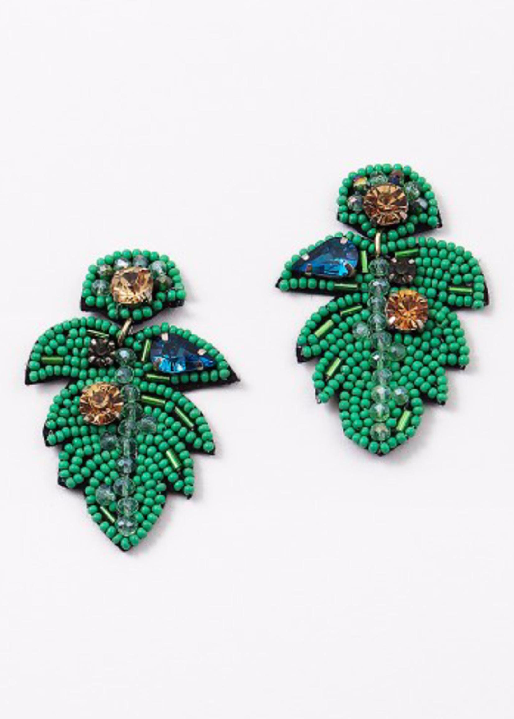 hula sue beaded palm earrings