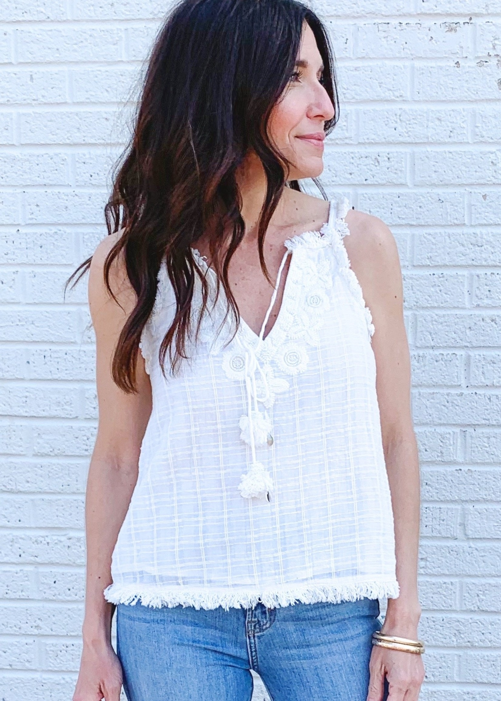hula sue dreamer embroidered & beaded tank - white