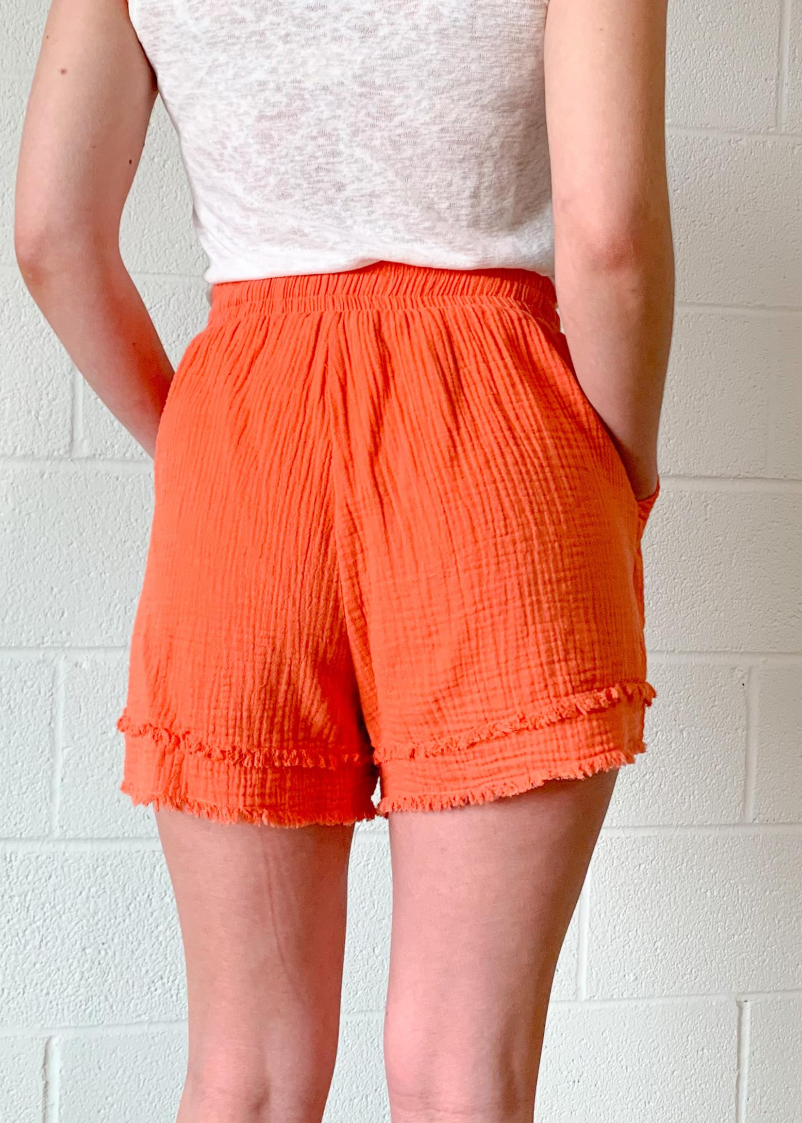 hula sue bethany gauze drawstring shorts - coral