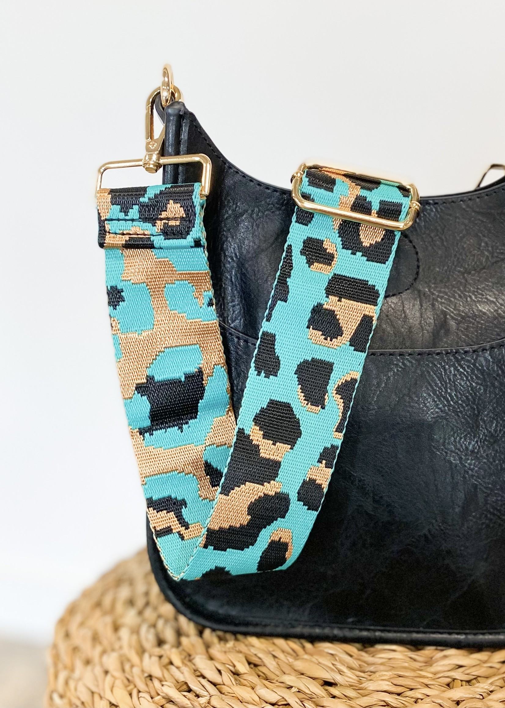 hula sue turquoise leopard purse strap