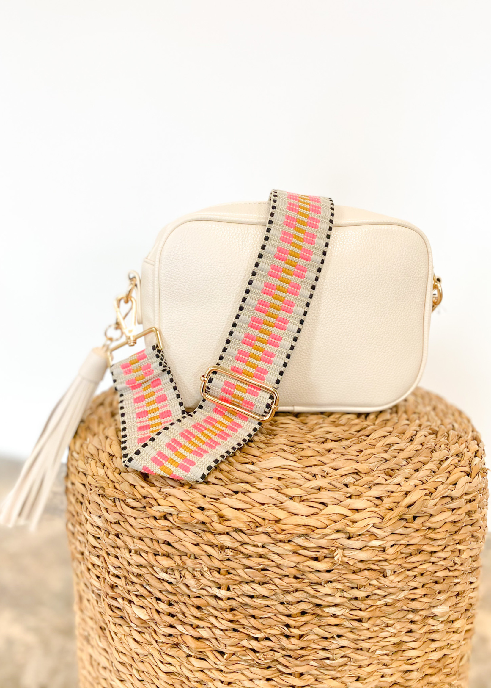hula sue black, cream & pink embroidered strap