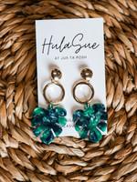 hula sue summer palm earring - green