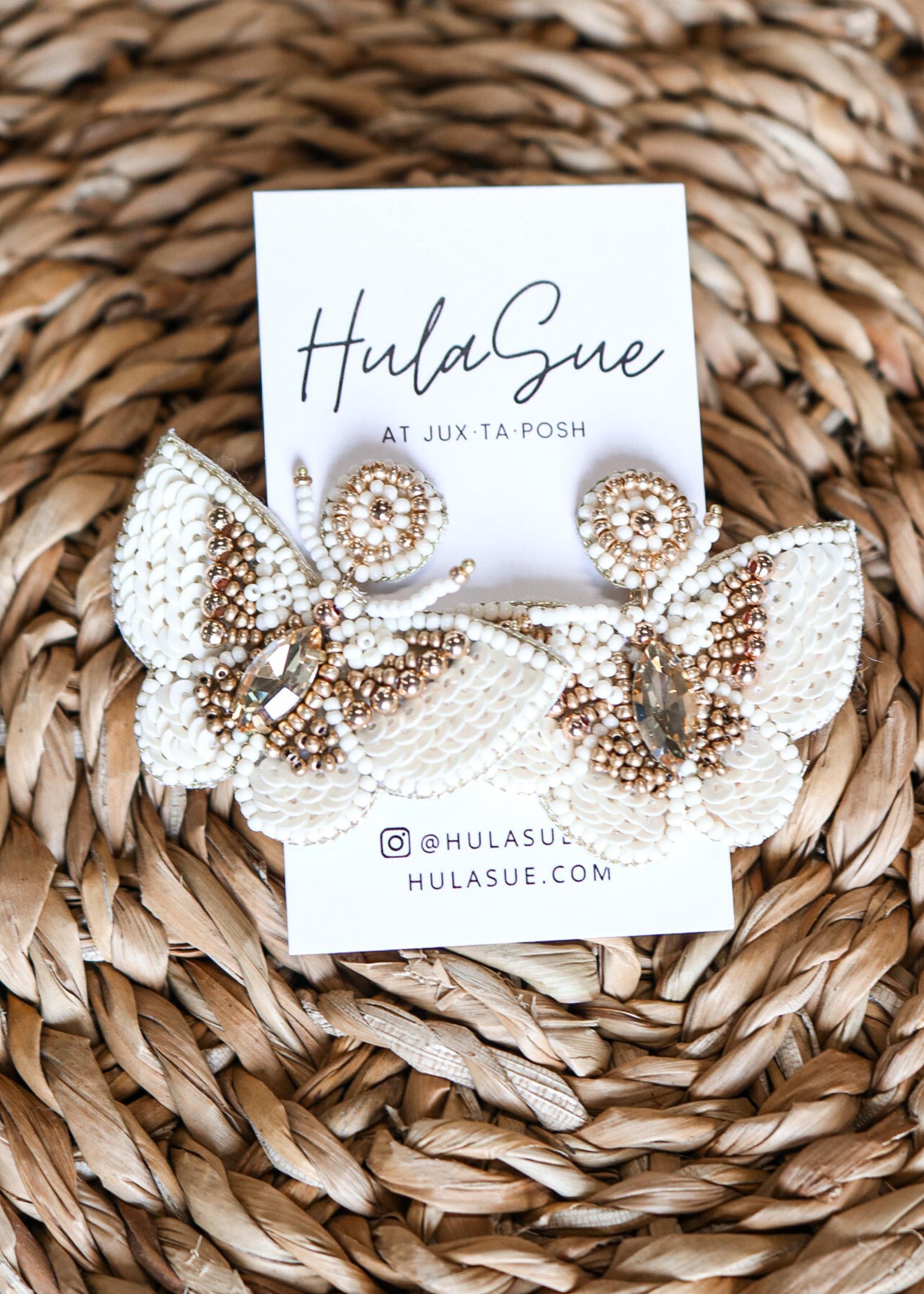 hula sue ivory & gold beaded butterfly earrings