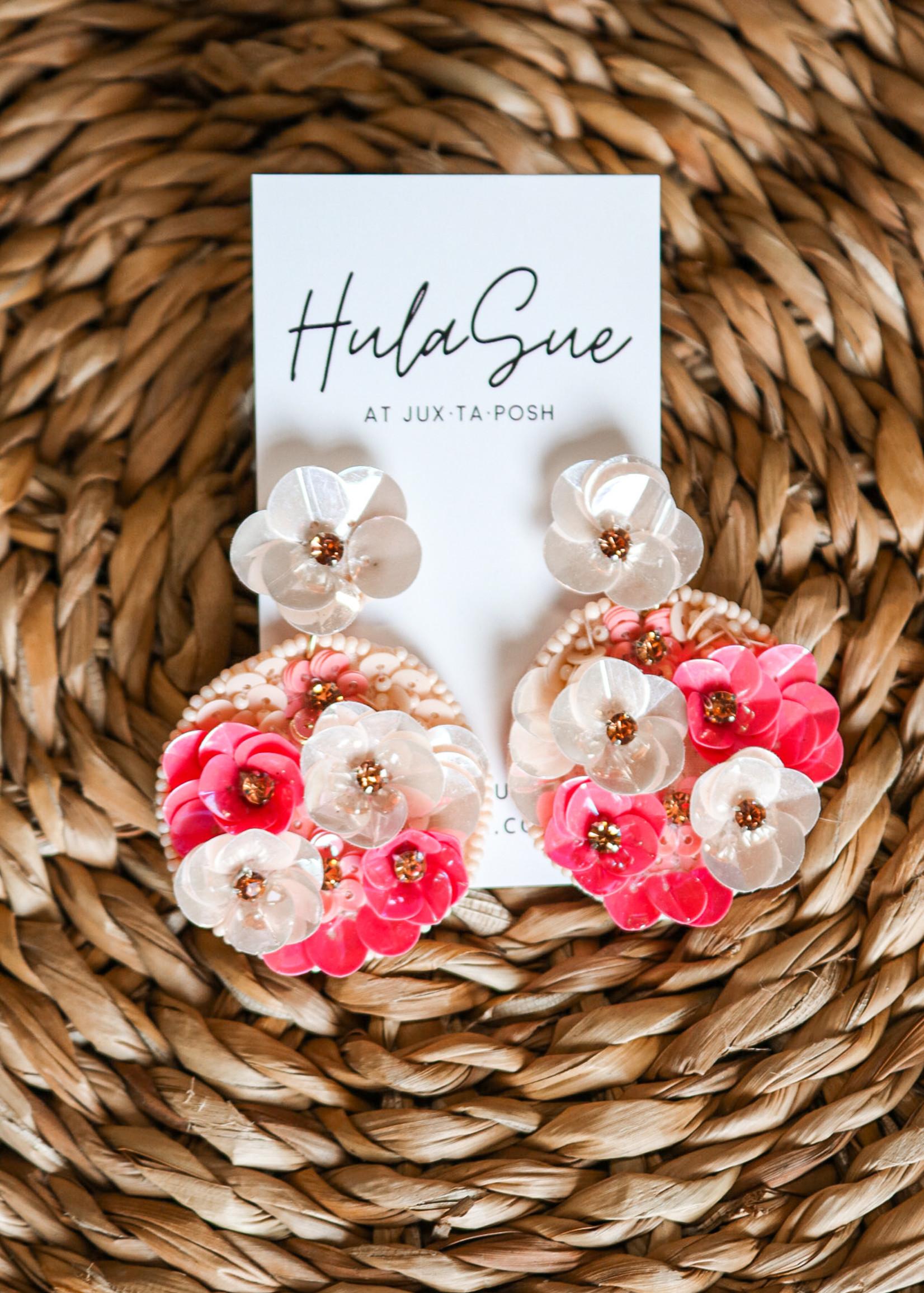 hula sue bloom earrings - pink