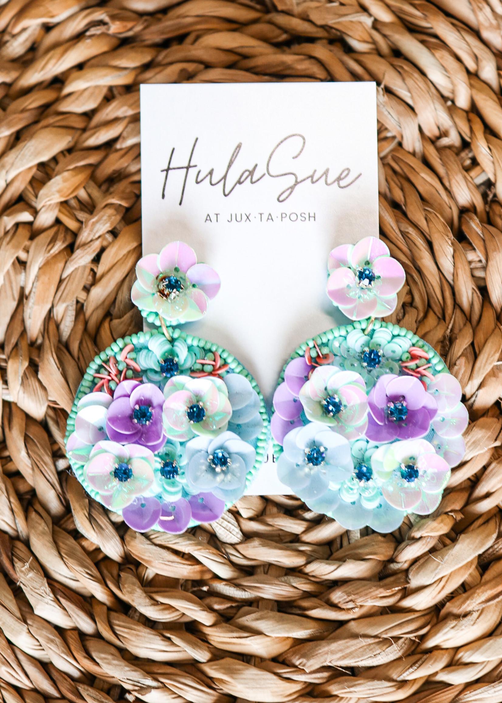 hula sue bloom earrings - mint