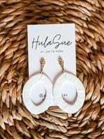 hula sue megan wrapped drop earring - white