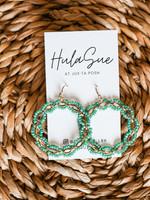 hula sue zoey beaded hoops - mint