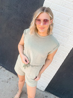 hula sue connor button back top - olive