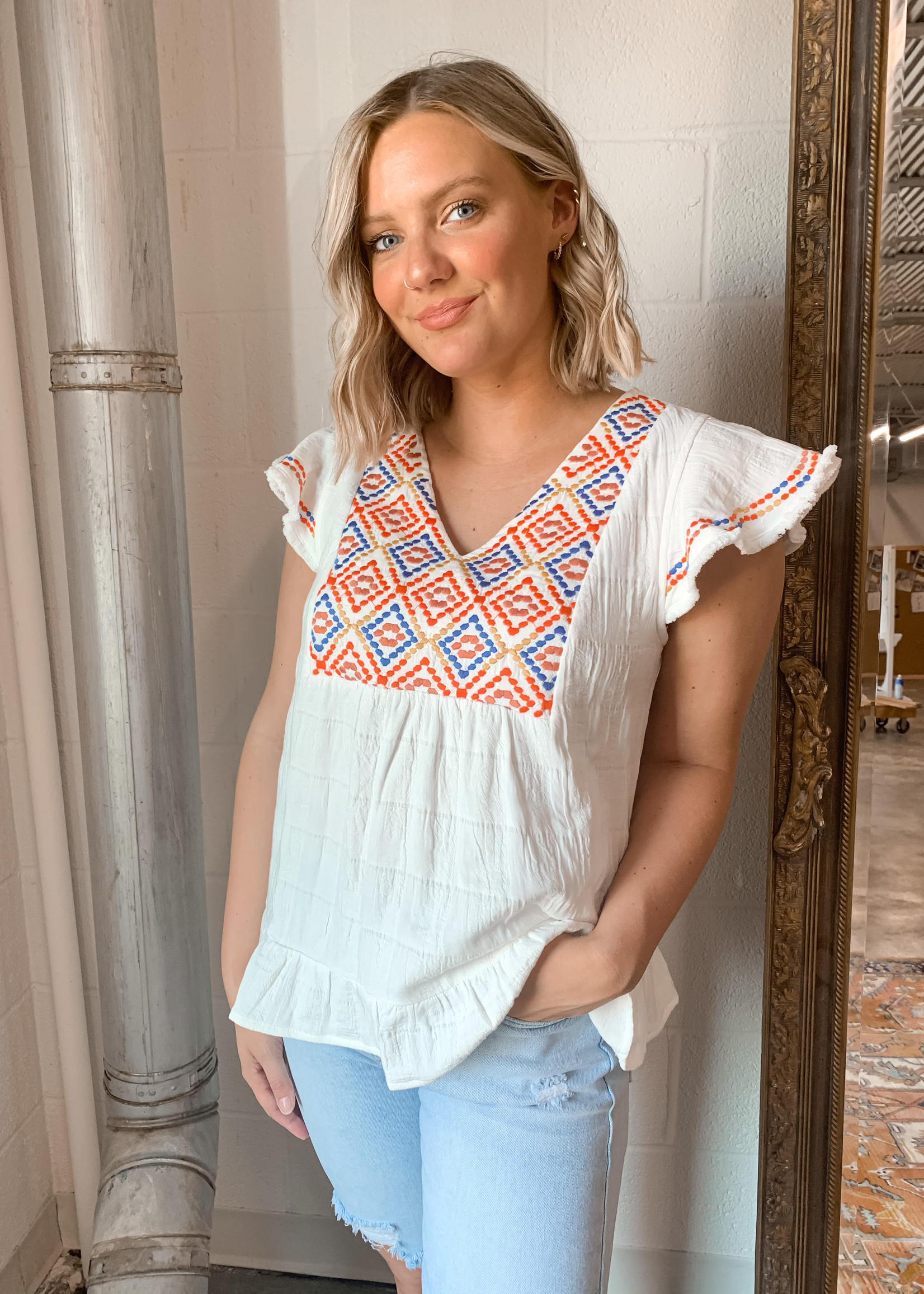 hula sue luela embroidered top - white
