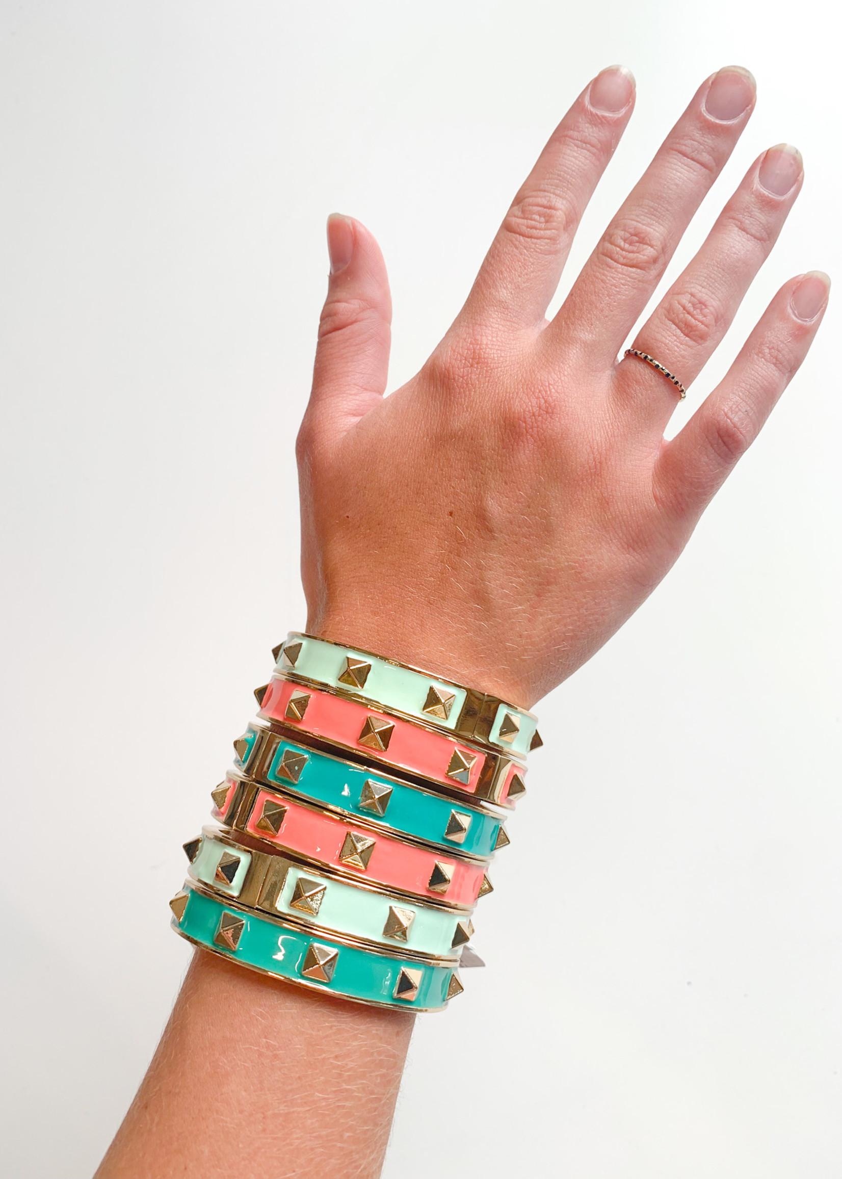 hula sue cora stud bracelet - coral