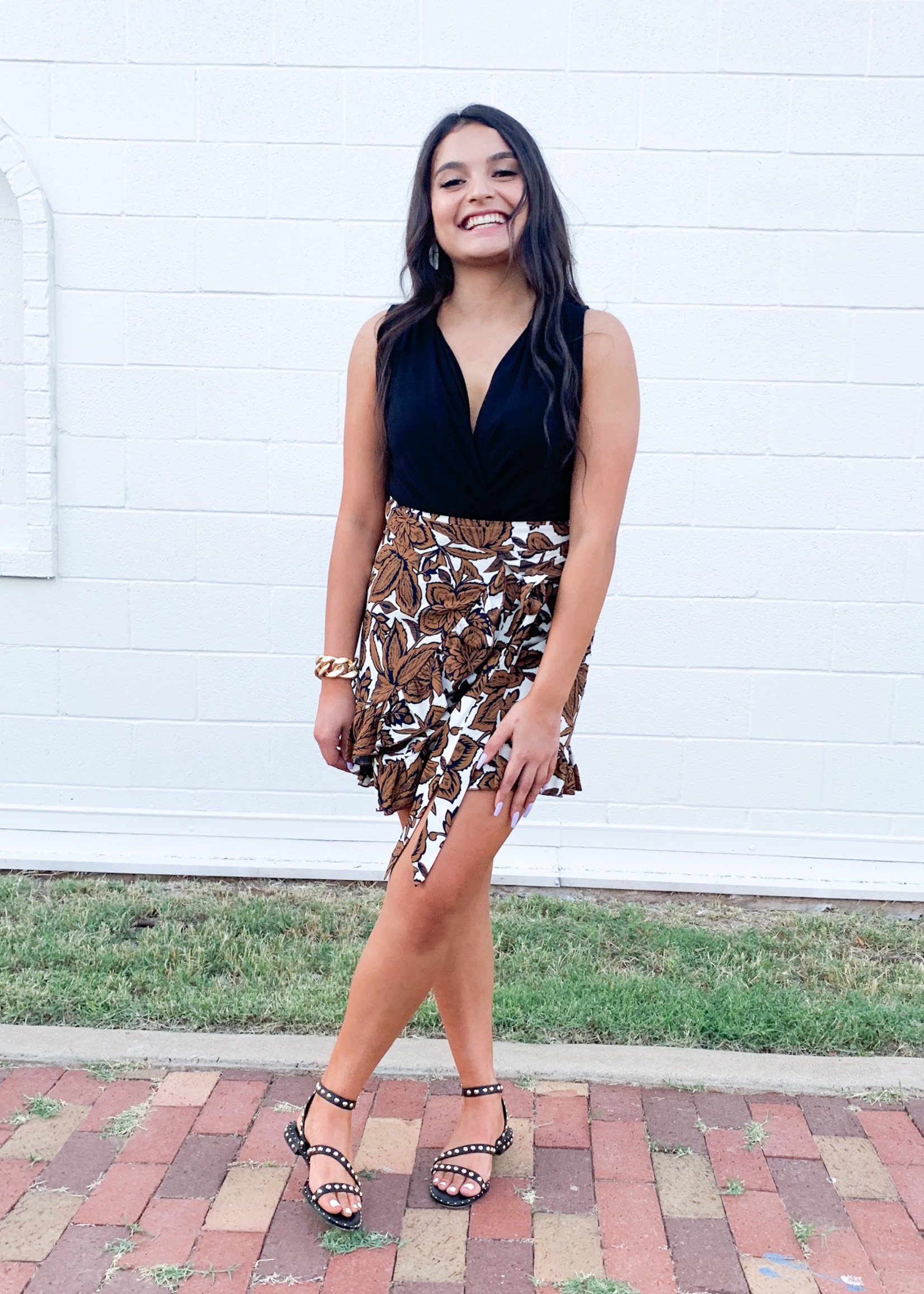 hula sue cassis floral skirt - brown