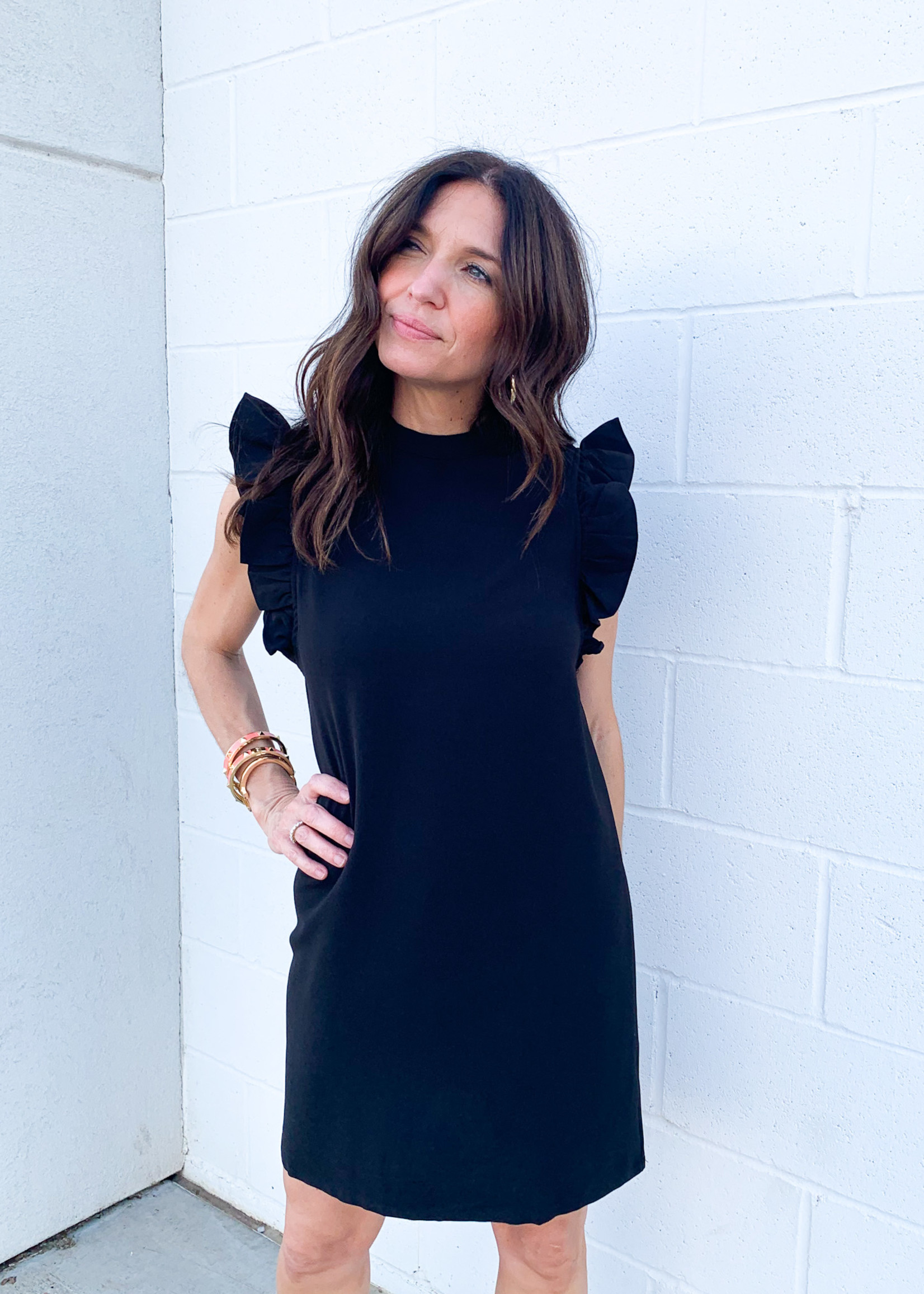 hula sue ruffle sleeve dress - black