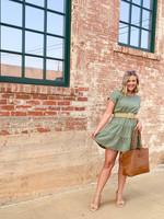 hula sue vivi belted dress - olive