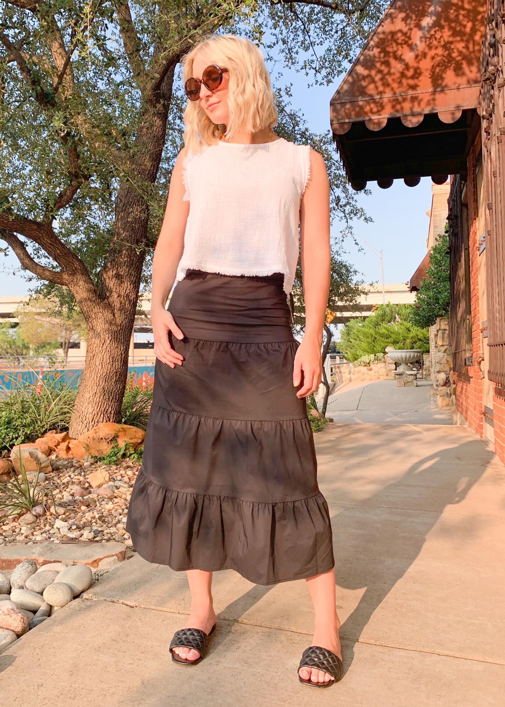 hula sue ashby tiered skirt - black