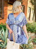 hula sue patchwork pocket dress - blue