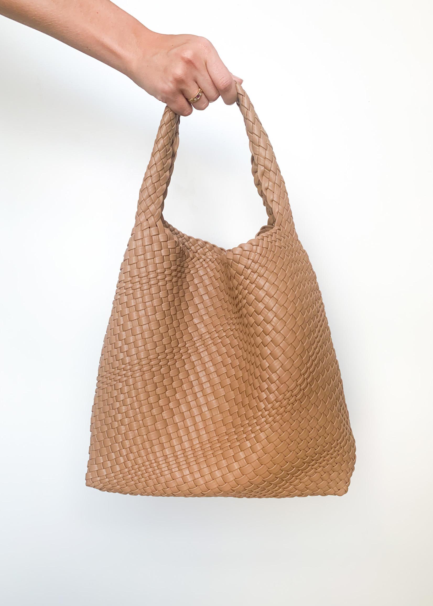hula sue woven sling bag - tan