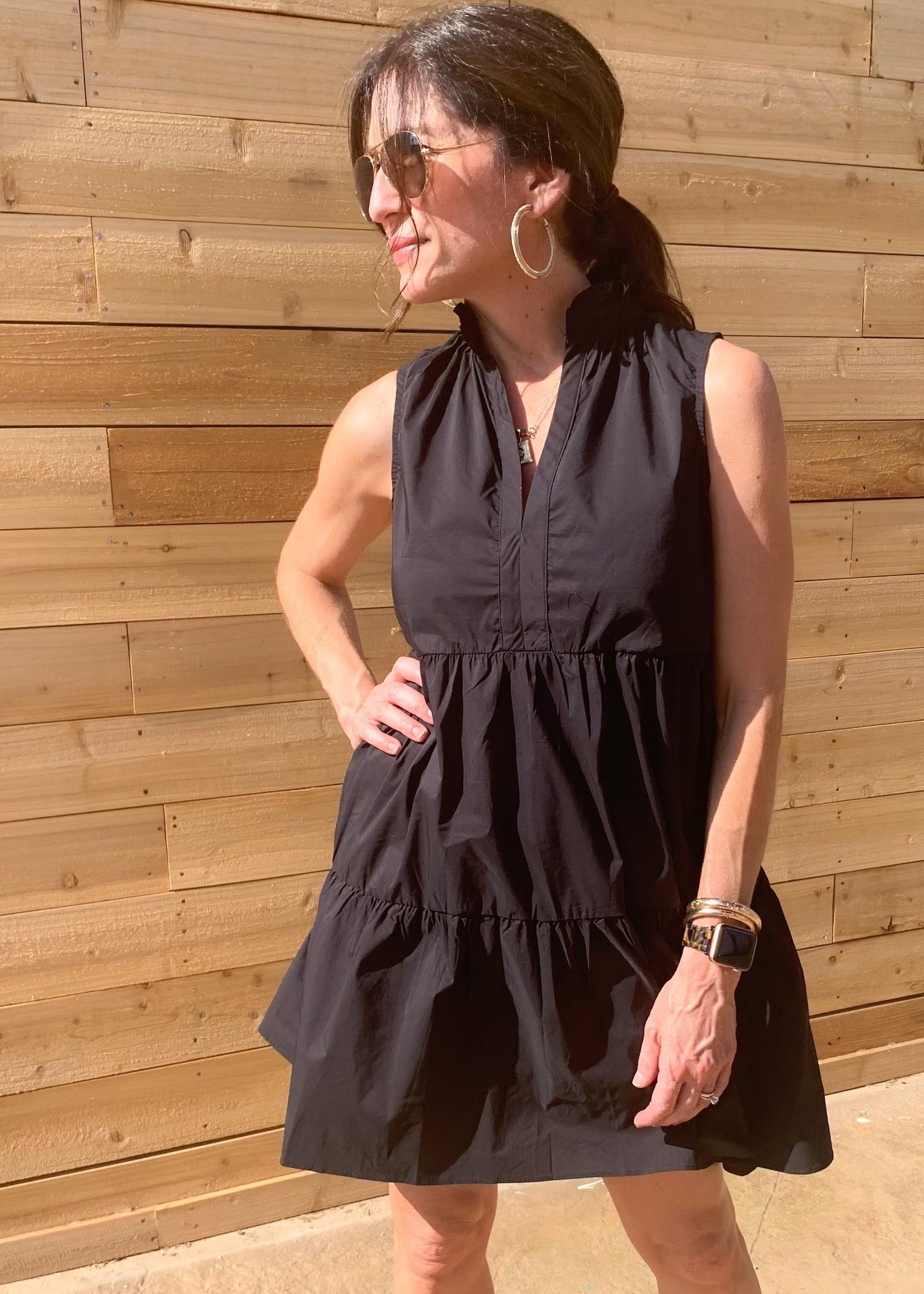 hula sue elloise tiered dress - black