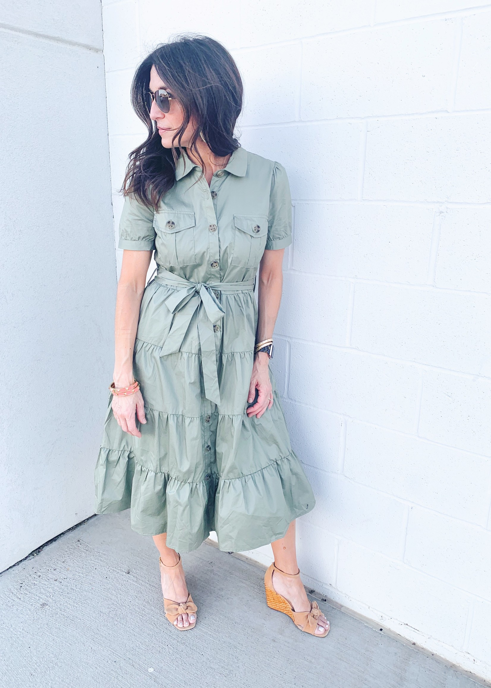 hula sue olivia midi shirt dress - olive