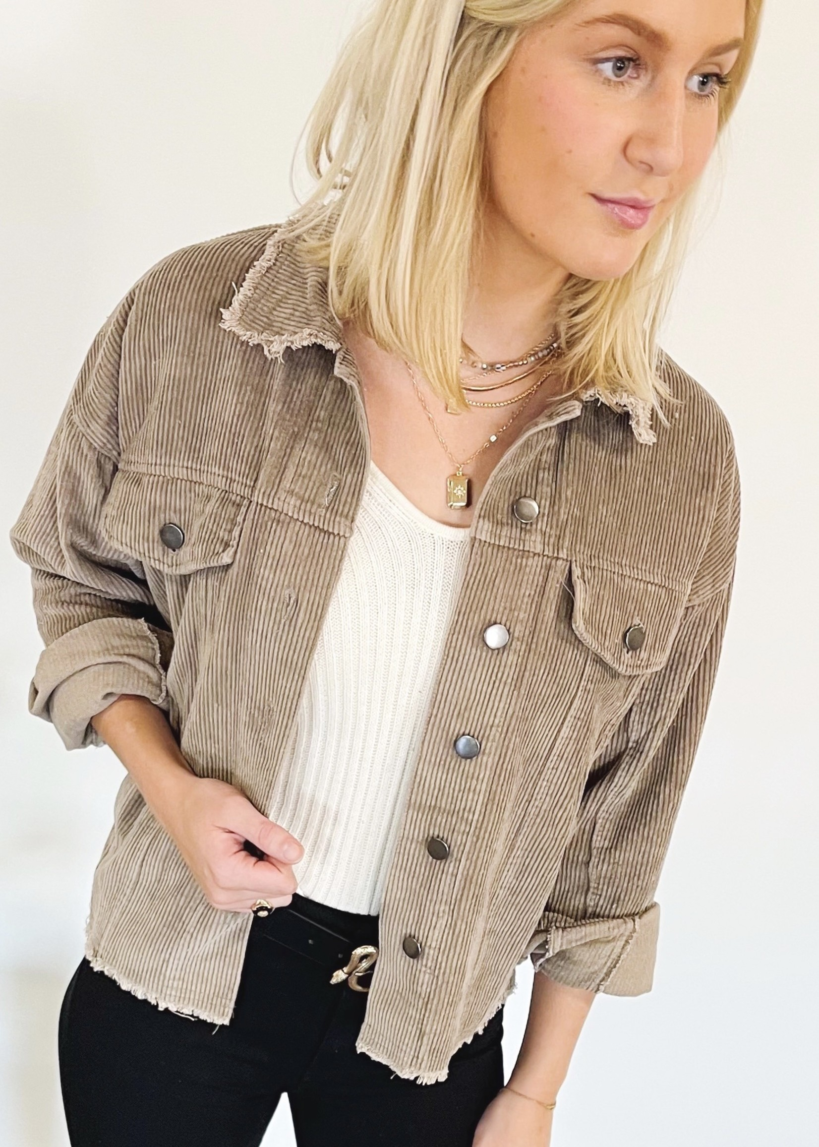 hula sue distressed cord shacket - taupe