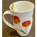 "Teaware Mug ""Poppy"", 18oz Tall Porcelain"