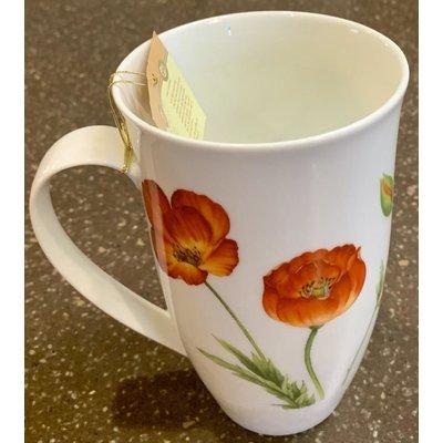 "Teaware Mug ""Poppy"", 18oz Tall Porcelain from Trailhead Tea, Sedona Arizona's Full-Leaf Tea Department Store"
