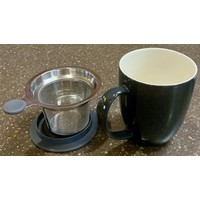 Teaware Brew-In-Mug, 16-oz (color BLACK GRAPHITE with tea strainer & lid)