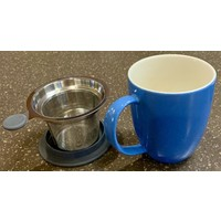 Teaware Brew-In-Mug, 16-oz (color BLUE with tea strainer & lid)