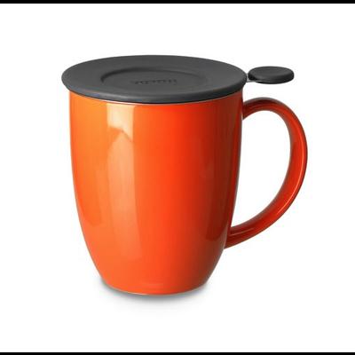 Teaware Brew-In-Mug, 16-oz (color CARROT  with tea strainer & lid) from Trailhead Tea, Sedona Arizona's Full-Leaf Tea Department Store