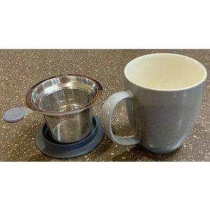 Teaware Brew-In-Mug, 16-oz (color GRAY with tea strainer & lid)