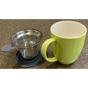 Teaware Brew-In-Mug, 16-oz (color LIME  with tea strainer & lid) from Trailhead Tea, Sedona Arizona's Full-Leaf Tea Department Store