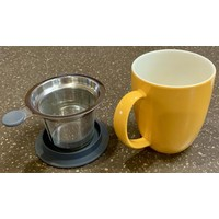 Teaware Brew-In-Mug, 16-oz (color MANDARIN with tea strainer & lid)