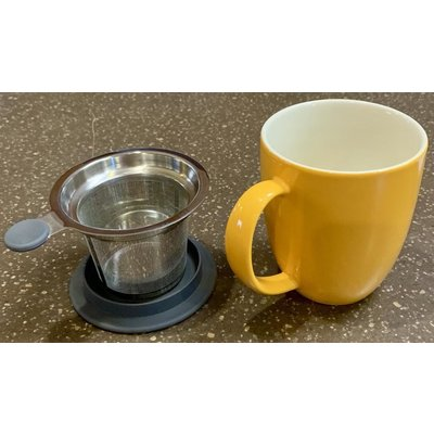 Teaware Brew-In-Mug, 16-oz (color MANDARIN  with tea strainer & lid) from Trailhead Tea, Sedona Arizona's Full-Leaf Tea Department Store