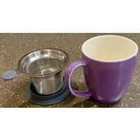 Teaware Brew-In-Mug, 16-oz (color PURPLE with tea strainer & lid)