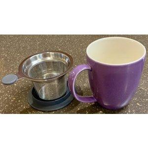 Teaware Brew-In-Mug, 16-oz (color PURPLE with tea strainer & lid)