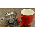 Teaware Brew-In-Mug, 16-oz (color RED with tea strainer & lid)