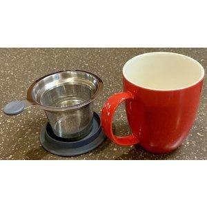 Teaware Brew-In-Mug, 16-oz (color RED with tea strainer & lid)