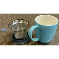Teaware Brew-In-Mug, 16-oz (color TURQUOISE with tea strainer & lid)