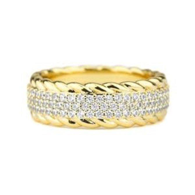 The Gold Gods GoldGods 3 Row Diamond Rope Ring