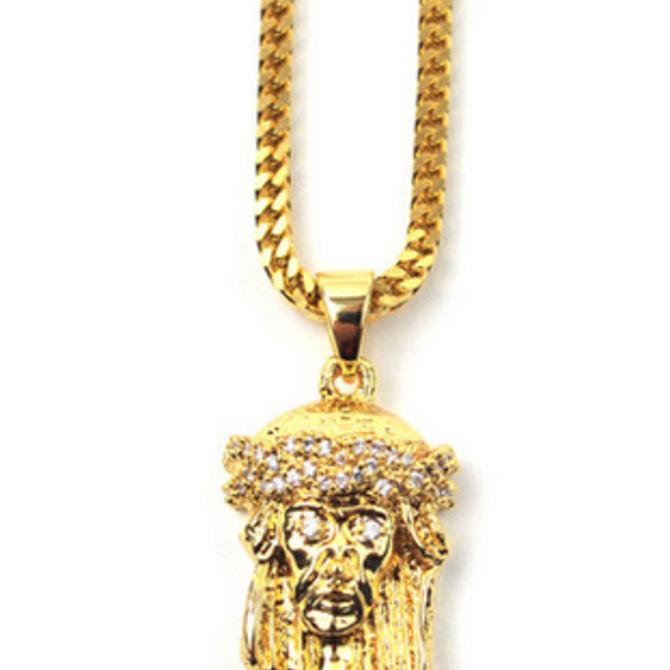The Gold Gods GoldGods Micro Jesus Piece Necklace 28in.