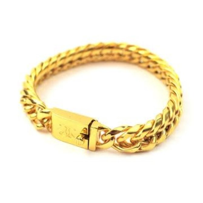 The Gold Gods GoldGods 12mm Curved Cuban Link Bracelet Gold